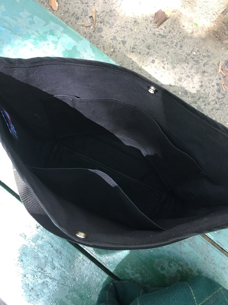 Black and White Floral Print Market Bag Tote Bag Cross Body Cotton Shoulder Bag