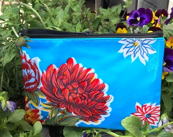 Blue Floral Oil Cloth Zippered Coin Bag, Cosmetic Case, Oil Cloth Pouch, Travel Case