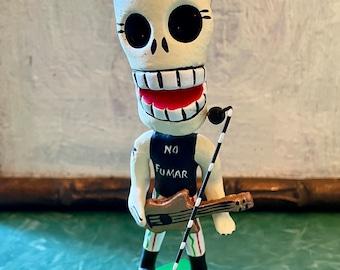 Deluxe Punk Rock Star Mexican Day of the Dead Ceramic  Figurine, Dia De Los Muertos Skeleton Art
