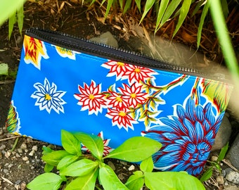 """10"""" Blue Floral Oil Cloth Zippered Pencil Case, Cosmetic Case, Oil Cloth Pouch, Make Up Bag, Travel Case"""