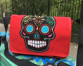Red Canvas Sugar Skull Messenger Bag, Canvas Courier Bag, Cross Body School Bag, Book Bag