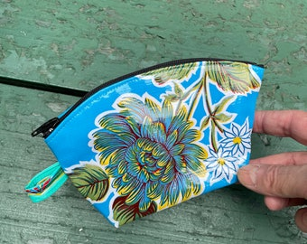 """Blue Floral Oil Cloth 7"""" Pouch, Travel Case, Make Up bag, Cosmetic Bag"""