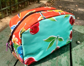 Love Shine Patchwork Oil Cloth Dopp Kit, Toiletry bag, Cosmetic Case, Travel Case