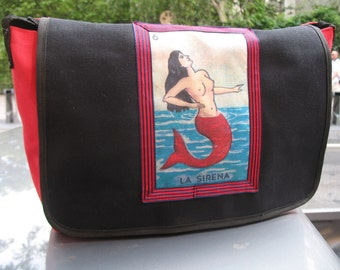 La Sirena Canvas Courier bag, Mermaid Black Canvas Messenger Crossbody Bookbag
