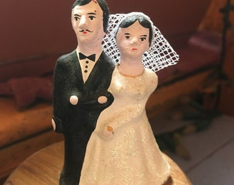 Mexican  Handmade Ceramic Wedding Couple Cake Topper