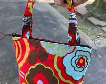 Orange Floral Cotton Mini Wrist Purse, Lipstick Tote Bag