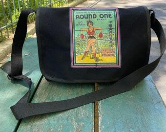 Canvas Boxing Girl Courier bag, Round One Match Box Art Messenger Bag, Cross body Shoulder Bag
