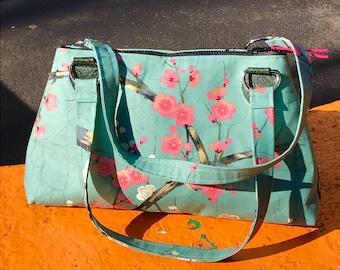 Cotton Plum Blossom Handbag Purse, Asian Print Shoulder Bag, Green Pink Floral Baguette Bag