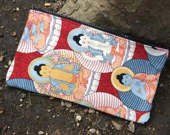 Buddha Print Cotton Pencil Case, Cosmetic Case, Cotton Pouch, Travel Case