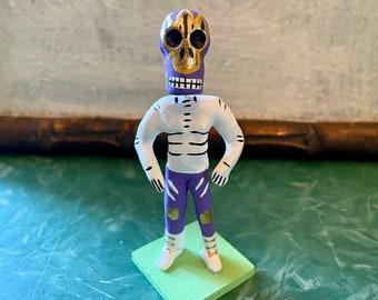 Lucha Libre Mexican Wrestler Day of the Dead Figurine, Dia de los Muertos Miniature Skeleton Fighter