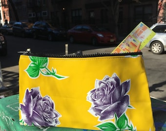 """Yellow and Purple Rose Oil Cloth Pencil Case, 10"""" Zippered Floral Cosmetic Bag, Make Up Pouch"""