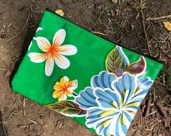 """Green Floral Oil Cloth 7"""" Pouch, Cosmetic Bag, Make Up Case, Travel Case"""