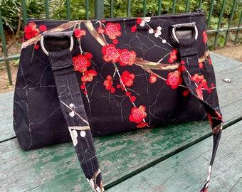 Black Plum Blossom Handbag Purse, Asian Floral Cotton Print Shoulder Bag, Baguette