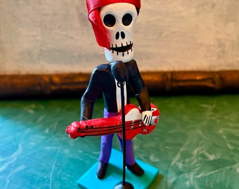 Jimi Hendrix Day of the Dead Figurine, Dia De Los Muertos Ceramic Skeleton Miniature