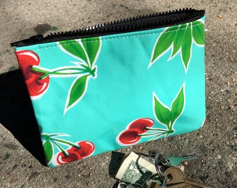 """Turquoise Cherry Oil Cloth 7"""" Zippered Pouch, Cosmetic Case, Make Up Bag, Coin Bag"""