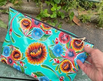 """Love Shine Floral Oil Cloth 14"""" Zipper Pouch, Laptop Portfolio Case, Travel Beach Bag"""