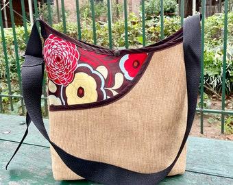 Brown Corduroy and Floral Peek a boo Market Bag, Love Shine Crossbody Corduroy Tote
