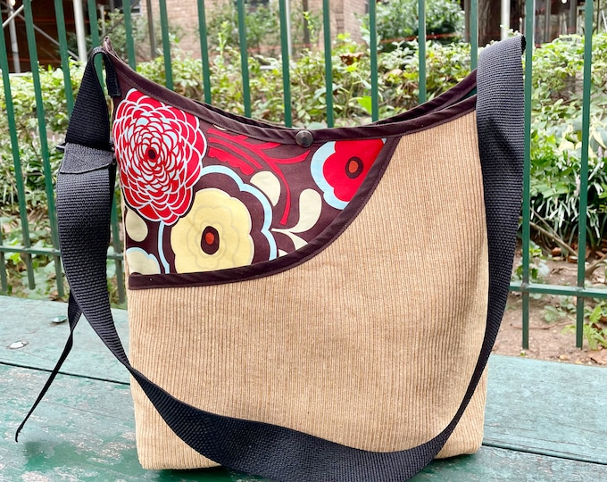 Featured listing image: Brown Corduroy and Floral Peek a boo Market Bag, Love Shine Crossbody Corduroy Tote