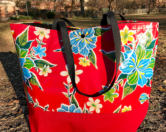 Red Floral Oil Cloth Beach Bag, Large Mexican Oil Cloth and Canvas Tote Bag