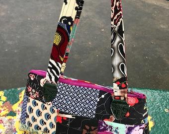 Cotton Floral Asian Patchwork Baguette Shoulder Bag, Handbag,Purse
