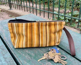 "Brown Gold Striped Corduroy 10"" Wristlet Pouch, Cosmetic Bag, Pencil Case"