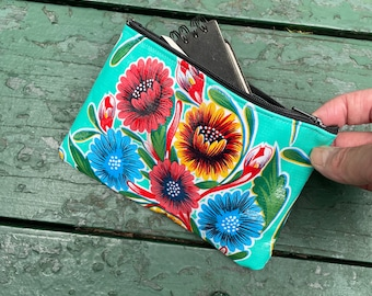 Turquoise Floral Mexican Oil Cloth Wallet Pouch, Cosmetic bag, Make Up Case