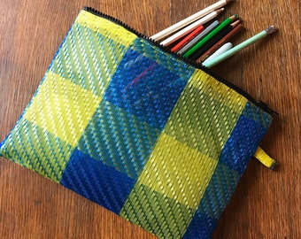 Love Shine Plaid Blue Yellow Mesh Pouch, Travel Bag, Pencil Case, Make Up Bag, Toiletry Bag