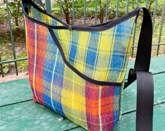 Love Shine Mexican Mesh Plaid Market Bag, Mercado Bag, Woven Mesh Crossbody Shoulder Bag