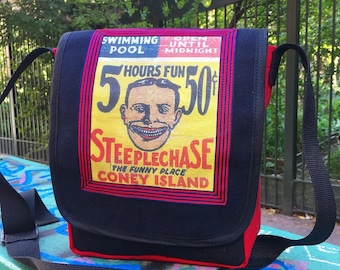 """Coney Island Brooklyn """"Tilly"""" Canvas Messenger Bag, Brooklyn Courier Bag with Steeplechase Sign, Daybag"""