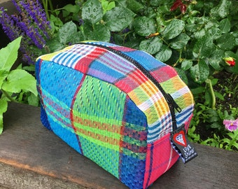 Patchwork Plaid Mesh Dopp kit, Travel Case, Toiletry Cosmetic Bag