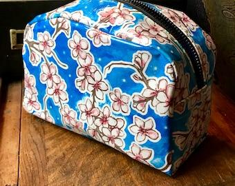 Love Shine Blue Cherry Blossom Oil Cloth Dopp kit, Travel Case, Cosmetic Bag, Toiletry Bag