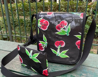 Black Cherry Oil Cloth and Canvas Messenger Day Bag with Cellphone Case, Crossbody Courier Bag