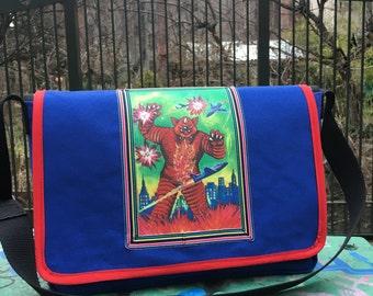 Japanese Monster Canvas Courier Bag, Godzilla Messenger Bag, Cross body School Bag