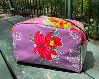 Love Shine Purple Floral Oil Cloth Patchwork Dopp kit, Toiletry Bag, Cosmetic Case, Make Up Bag