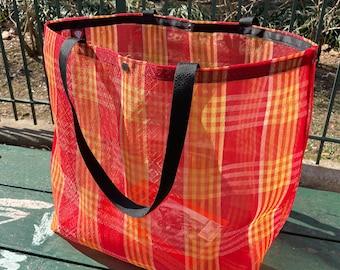 Large Red Plaid Mexican Mesh Market Tote Bag, Mercado Bag, Beach Bag