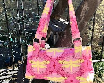 Love Shine Pink Dragonfly Cotton Print Shoulder Bag, Handbag, Purse