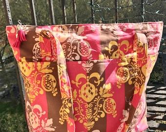 Pink Brown Stripe Chandelier Cotton Print Zipper Top Tote Bag, Shoulder Bag