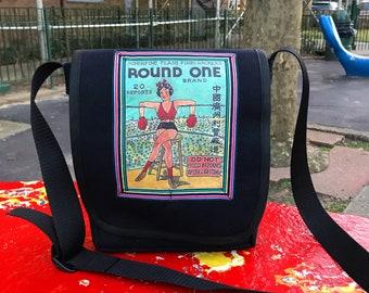 Boxing Girl Daybag, Canvas Messenger bag with Vintage Firecracker Box Design, Crossbody Shoulder Bag