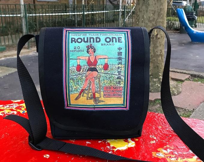 Featured listing image: Boxing Girl Daybag, Canvas Messenger bag with Vintage Firecracker Box Design, Crossbody Shoulder Bag
