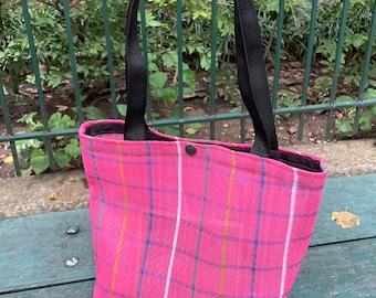 Small Pink Plaid Mexican Mesh Tote Bag, Mercado Bag, Pink Purse