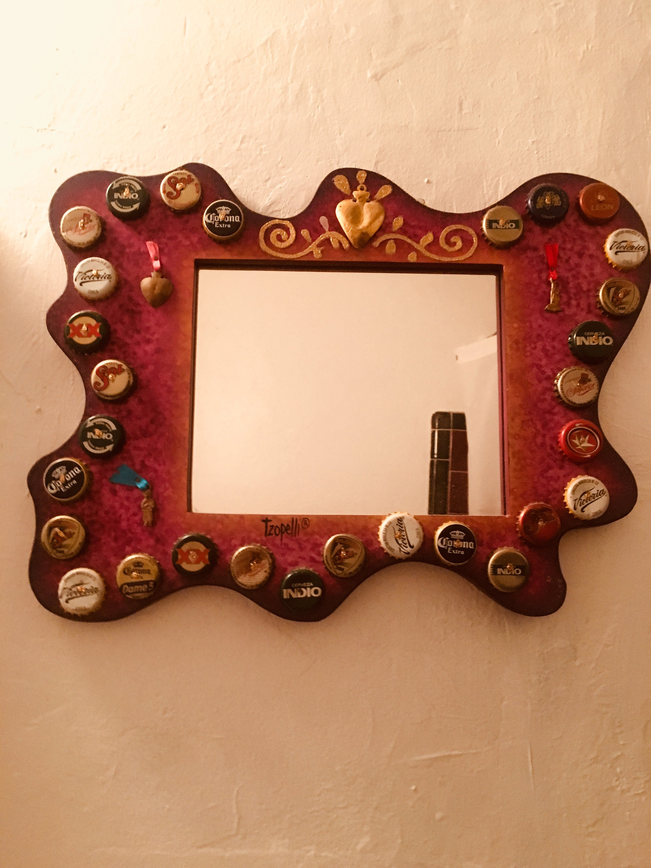 Hand Painted Bottle Cap And Milagro Wooden Frame Mirror Mexican