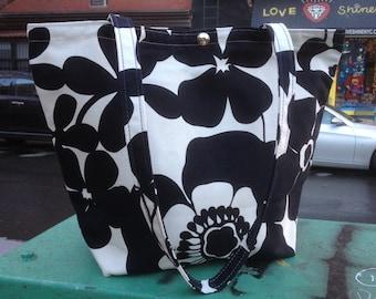 Black and White Floral Cotton Canvas Classic Tote Bag, Market Bag, Book Bag