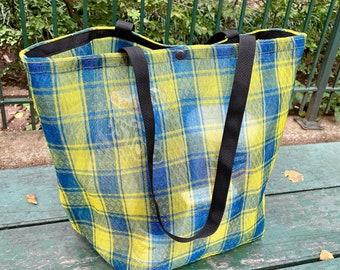 Large Blue Yellow Plaid Mexican Mesh Market Tote Bag, Mercado Bag, Beach Bag,