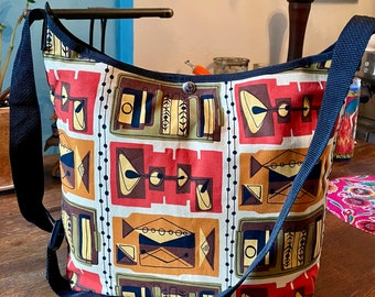 Brown Gold Cotton Martini Print Crossbody Market Bag, Shoulder Tote Bag