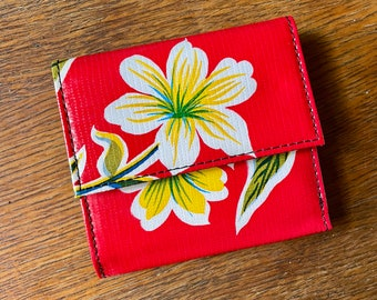 Love Shine Oil Cloth Red Trifold French Purse Wallet, Women's Floral Wallet