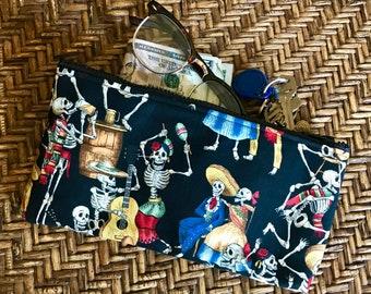 "Black Dancing Day of the Dead Skeleton 10"" Pencil Case, Cosmetics Bag, Make up Bag, Travel Case"