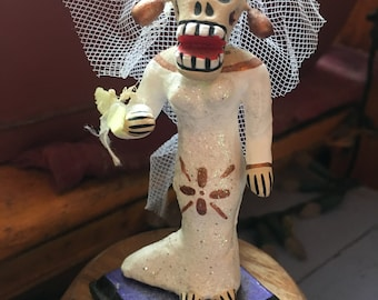Bridezilla Wedding Day of the Dead Figurine, Dia de los Muertos Bride