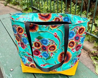 Floral Mexican Oil Cloth and Canvas Zippered Beach Bag, Large Shoulder Tote