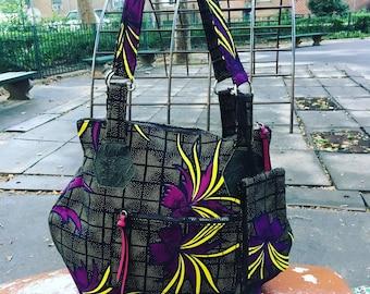 Large Floral African Print Zippered Tote Bag, Love Shine Hip Bag, Cotton Shoulder Bag