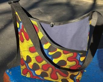 Gold Maroon African Wax Cloth Pocket Market bag, Canvas Cotton Cross Body Tote Bag, Messenger Bag